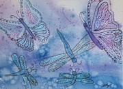 Dragonflies Mixed Media - Butterflies and Dragonflies by Ellen Levinson