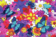 Home Paintings - Butterflies and Flowers by JQ Licensing