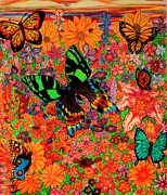 Bugs Drawings Prints - Butterflies and Flowers Print by Nick Gustafson