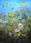 Wyoming Paintings - Butterflies and Wildflowers of Wyoming by Dawn Senior-Trask