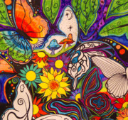 Sharpie Art Posters - Butterflies in her song Poster by Bonnie Murphy