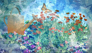 Cans Mixed Media - Butterflies In The Garden by Arline Wagner