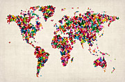 Travel Prints - Butterflies Map of the World Print by Michael Tompsett