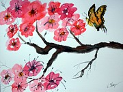 Cherry Blossoms Painting Originals - Butterfly and Blossoms by Warren Thompson