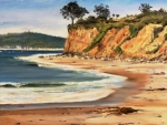 Surfing Art Paintings - Butterfly Beach West by Jeffrey Campbell