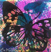 Oddball Art Painting Prints - Butterfly Bliss Print by Oddball Art Co by Lizzy Love
