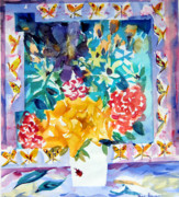 Still Life Framed Prints Prints - Butterfly Bouquet Print by Mindy Newman