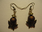 Brown Jewelry Prints - Butterfly Brown Earrings Print by Jenna Green