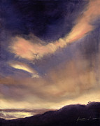Dramatic Sky Sun Rays Paintings - Butterfly Clouds by Antonia Myatt