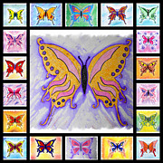 Mark Schutter Metal Prints - Butterfly Collage Metal Print by Mark Schutter