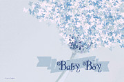 Calligraphic Prints - Butterfly Daisy Baby Boy Blue Print by Jayne Logan Intveld