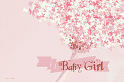 Greeting Cards With Text Posters - Butterfly Daisy Baby Girl Pink Poster by Jayne Logan