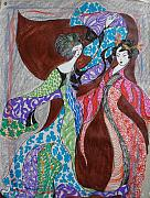Handmade Paper Paintings - Butterfly Dance by Helene  Champaloux-Saraswati