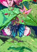 Watercolor Digital Art Originals - Butterfly Dining by Mindy Newman
