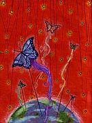 Kites Drawings - Butterfly Dreams by Riina Adamson