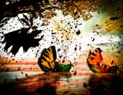 Leaves Mixed Media Prints - Butterfly Fairy Boats Print by Bob Orsillo