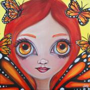 Yellow Fairy Paintings - Butterfly Fairy by Jaz Higgins
