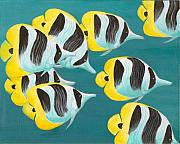 Hawaiian Fish Paintings - Butterfly Fish by Adam Johnson