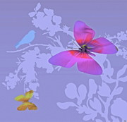 Mountains Digital Art - Butterfly Floral  8 by Debra     Vatalaro