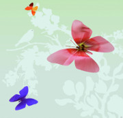 Outlook Mixed Media Posters - Butterfly Floral Poster by Debra     Vatalaro