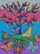 Invitations Paintings - Butterfly Gathering Tree Of Life by Jennifer Fayth