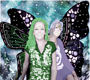 Wings Posters - Butterfly Girls Poster by Tisha McGee