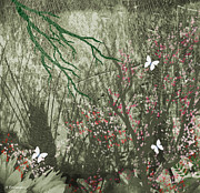 Hall Mixed Media Prints - Butterfly Haven 2 Print by Andrew Penman