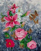 Roses Tapestries - Textiles Prints - Butterfly Heaven  Print by Judy Sauer