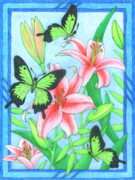 Butterfly Idyll- Lilies Print by Alison Stein