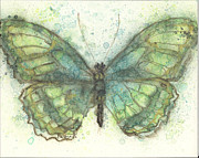 Fluttering Painting Framed Prints - Butterfly in Emerald Framed Print by Pam Ek