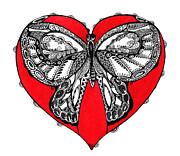Ornate Butterfly Framed Prints - Butterfly in red heart Framed Print by Ievgeniia Lytvynovych