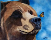 Grizzly Bear Paintings - Butterfly Kisses by Debbie LaFrance