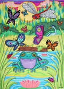 Dragon Fly Drawings Posters - Butterfly Lake Poster by Nick Gustafson