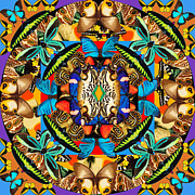 Tibet Mixed Media Prints - Butterfly Mandala Print by Dominic Piperata