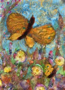 Acrylic Collage Posters - Butterfly Meadow Poster by Maria Watt