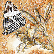Exotic Drawings Metal Prints - Butterfly Mosaic 02 Elena Yakubovich Metal Print by Elena Yakubovich