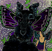 Puppies Digital Art Metal Prints - Butterfly Pets Metal Print by Tisha McGee