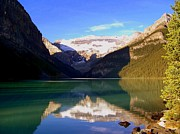 Water Reflections Photos - Butterfly Phenomenon at Lake Louise by Karen Wiles
