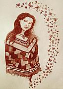 Native American Drawings - Butterfly Princess by Nick Gustafson