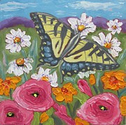 Pallet Knife Prints - Butterfly Range Print by Susan  Spohn