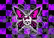 Girly Skull Posters - Butterfly Skull Poster by Roseanne Jones
