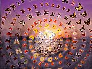 Anne Cameron Cutri Metal Prints - Butterfly Sunset Metal Print by Anne Cameron Cutri