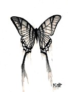 Grey Mixed Media Originals - Butterfly Tears 2 by Mike Grubb