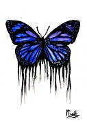 Cartoon Drawings Originals - Butterfly Tears by Mike Grubb