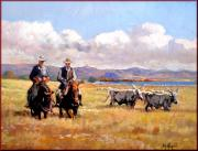 Contemporary Cowboy Prints Paintings - Butteri Italian cowboys by Vaccaro