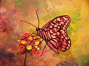 Verbena Paintings - Butterly and Verbena by Anne Marie Brown