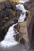 Buttermilk Falls Painting Posters - Buttermilk Falls Poster by Glen Heberling