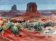 Tribal Painting Originals - Buttes of Monument Valley by Donald Maier