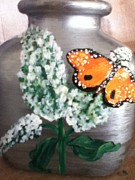 Insects Glass Art - Buttlerfly Flower Miniature Vase by Berta Barocio-Sullivan