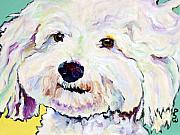 Dog Artist Painting Prints - Buttons    Print by Pat Saunders-White